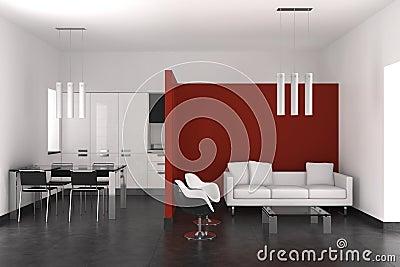Vita e sala da pranzo moderne con la cucina immagini stock - Sala da pranzo moderne ...