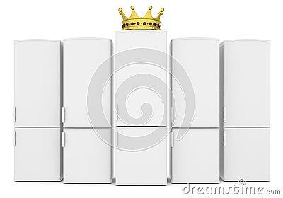 Vita kylskåp och guld- krona