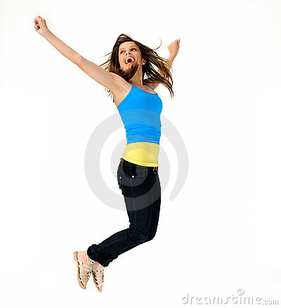 Vitality jump of young girl