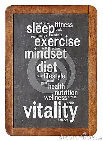 Free Vitality  Word Cloud On Blackboard Stock Photos - 35325133