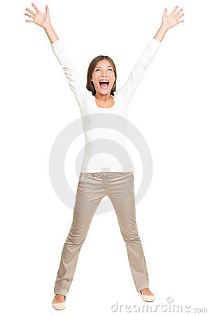 Vitality - young happy woman on white