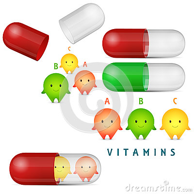 Vitamin Pills And Medicine Capsule. Clipart Set. Stock Vector ...