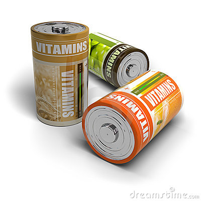 Vitamins and energy isolated over white