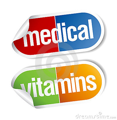 Vitamins, pills stickers.