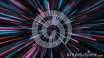 Vitesse d'accélération lumière du tunnel de mouvement et rayures se déplaçant rapidement sur fond sombre abstrait coloré lignes 4 illustration de vecteur