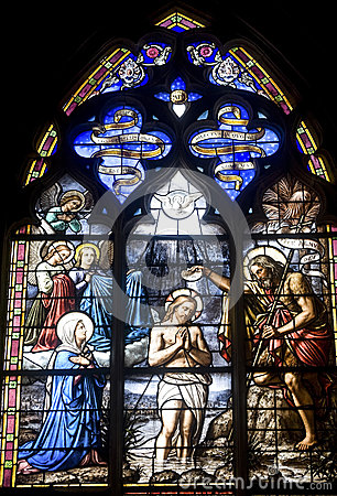 Vitre, Brittany, stained glass