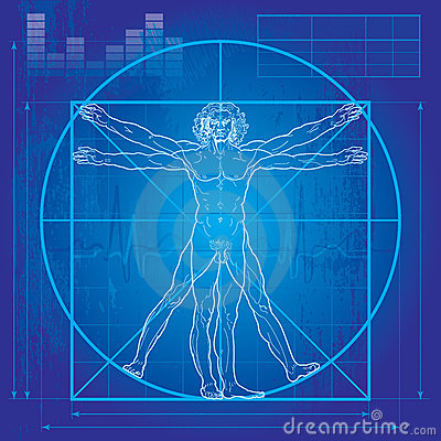 The Vitruvian man (Blueprint version) Editorial Photography