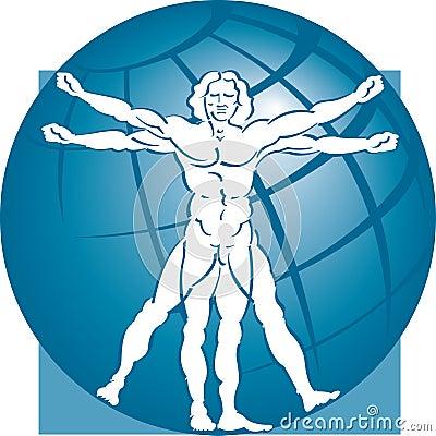 Free Vitruvian Man Model & Globe Stock Photo - 5010140