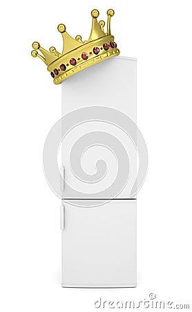 Vitt kylskåp och guld- krona