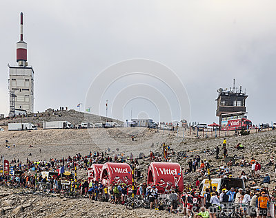 Vittel Vehicles on Mont Ventoux Editorial Stock Image