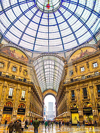 Vittorio Emanuele Galleries, Milaan Redactionele Fotografie