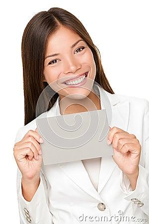 Vivacious Asian woman with grey card
