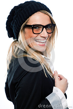 Vivacious woman in a black beret