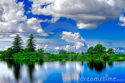 Vivid blue and green landscape