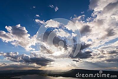 Vivid clouds sun ray