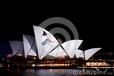 Vivid Light Festival on Sydney Opera House Editorial Photography