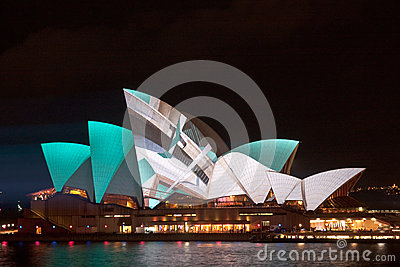Vivid Light Festival on Sydney Opera House Editorial Photo