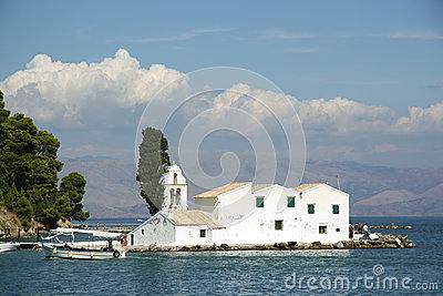 Vlacherna monastery in Corfu Town (Greece) Editorial Stock Image