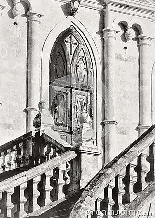 Vladimir church in Bykovo.Moskovskaya area. wrought iron gates to the castle temple Stock Photo