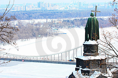 Vladimir the Great and frozen river Dnieper