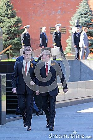 Vladimir Putin and Dmitry Medvedev Editorial Stock Image