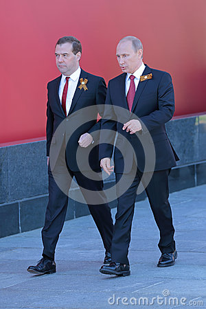 Vladimir Putin and Dmitry Medvedev Editorial Photography