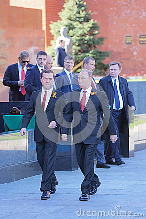 Vladimir Putin and Dmitry Medvedev Editorial Stock Image