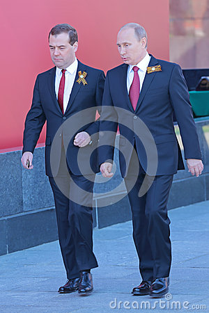 Vladimir Putin and Dmitry Medvedev Editorial Stock Photo