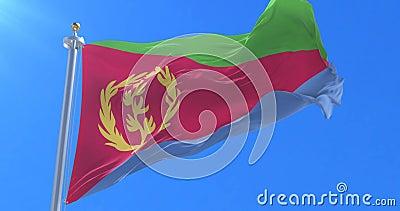 Vlag die van Eritrea bij wind met blauwe hemel in langzaam, lijn golven vector illustratie