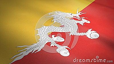 Vlag van Bhutan Wavevlag met een zeer gedetailleerde structuurstructuur, naadloos loopbare video Naadloze lus met zeer hoge vector illustratie