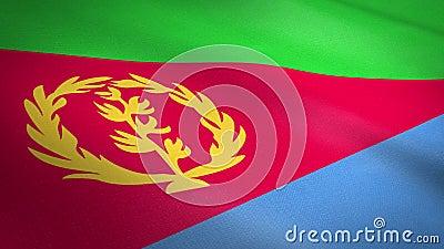 Vlag van Eritrea Wavevlag met een zeer gedetailleerde structuurstructuur, naadloos loopbare video Naadloze lus met zeer hoge vector illustratie