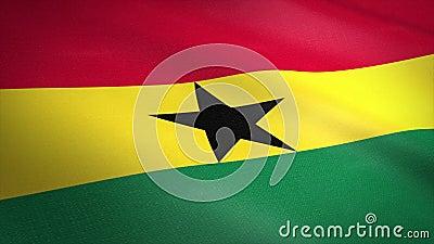 Vlag van Ethiopië Wavevlag met een zeer gedetailleerde structuurstructuur, naadloos loopbare video Naadloze lus met zeer hoge vector illustratie
