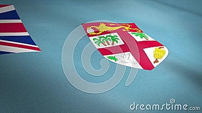 Vlag van Fiji Wavevlag met een zeer gedetailleerde structuurstructuur, naadloos loopbare video Naadloze lus met zeer hoge vector illustratie