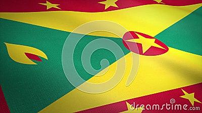 Vlag van Grenada Wavevlag met een zeer gedetailleerde structuurstructuur, naadloos loopbare video Naadloze lus met zeer hoge stock illustratie