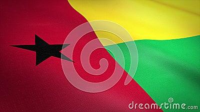 Vlag van Guinee-Bissau Wavevlag met een zeer gedetailleerde structuurstructuur, naadloos loopbare video Naadloze lus met royalty-vrije illustratie