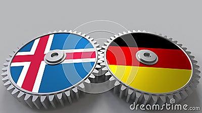Vlaggen van IJsland en Duitsland bij het inschakelen van toestellen Internationale samenwerkings conceptuele animatie royalty-vrije illustratie