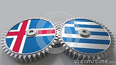 Vlaggen van IJsland en Griekenland bij het inschakelen van toestellen Internationale samenwerkings conceptuele animatie stock footage