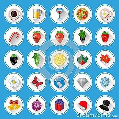 Vlakke geplaatste pictogrammen en pictogrammen