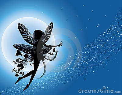 Vliegend feesilhouet in nachthemel