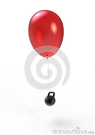 Vliegende ballon en zwaargewicht
