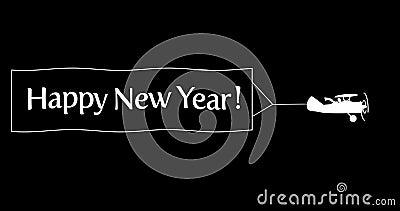 Vliegende vliegtuig met banner Happy Nieuwjaar royalty-vrije illustratie