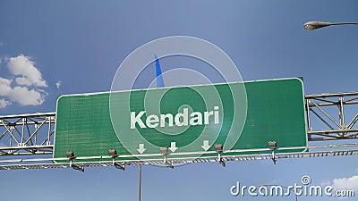 Vliegtuig die Kendari landen stock footage