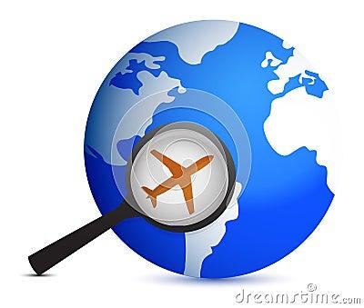 Vliegtuig in meer magnifier op planeet