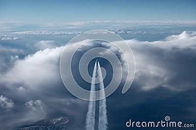 Vliegtuig op de horizon sk