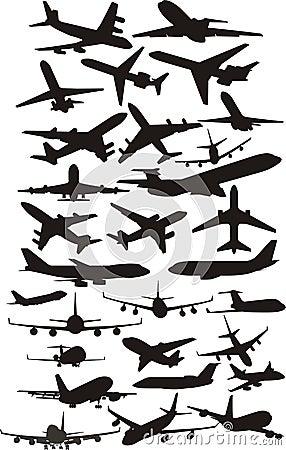 Vliegtuig silhoetts