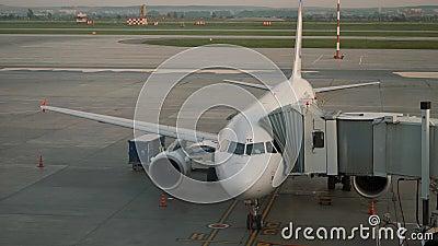 Vliegtuigstandaard bij de poort van de luchtterminal Voertuig in dienst op luchthaven stock video