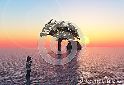 Vloed met kind