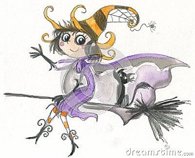 Vôo da bruxa de Halloween no broomstick
