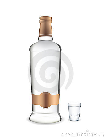 Vodka. Bottle and glass.