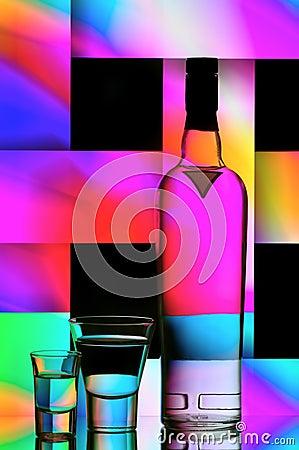 Vodka bottle and shot glasses